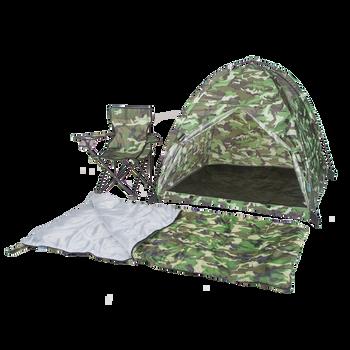 Green Camo Tent, Chair, & Sleeping Bag Set