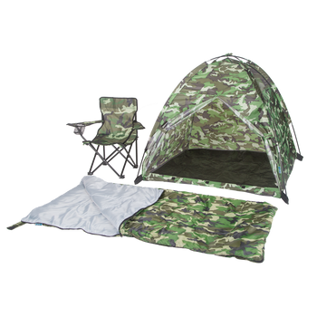 Green Camo Tent, Chair, & Sleeping Bag Set
