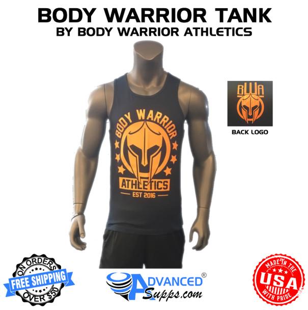 body warrior tank top, blue orange
