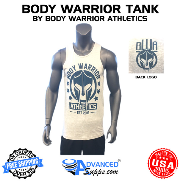 Grey with blue body warrior tank top