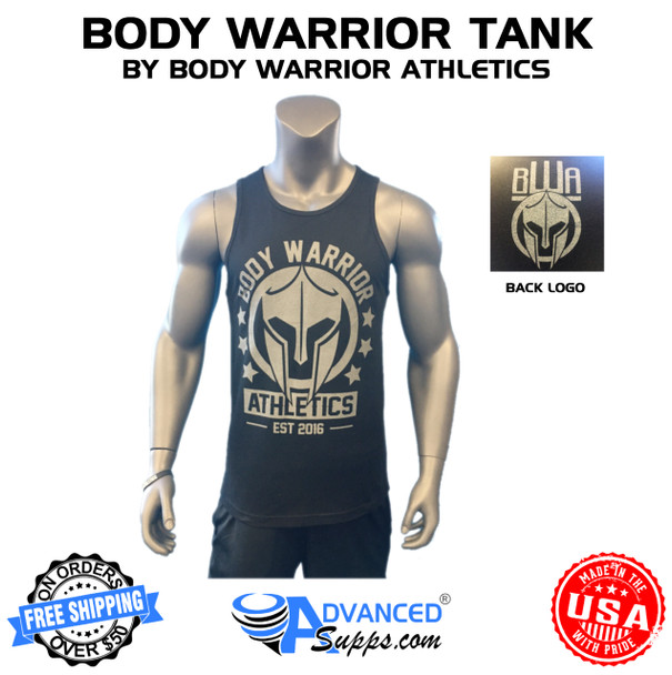 black with grey body warrior tank top