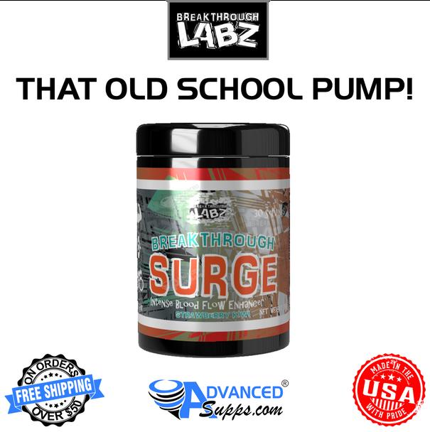 Breakthrough Surge, pump, booster, NO2, old-school, old school, muscle, pre workout, pre-workout, non-stim, non stim, vasodialator, vaso