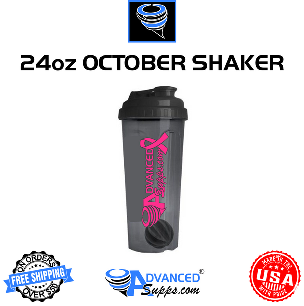 24oz Breast Cancer Awareness Shaker Bottle w/ Mixing Ball (Black & Pink)