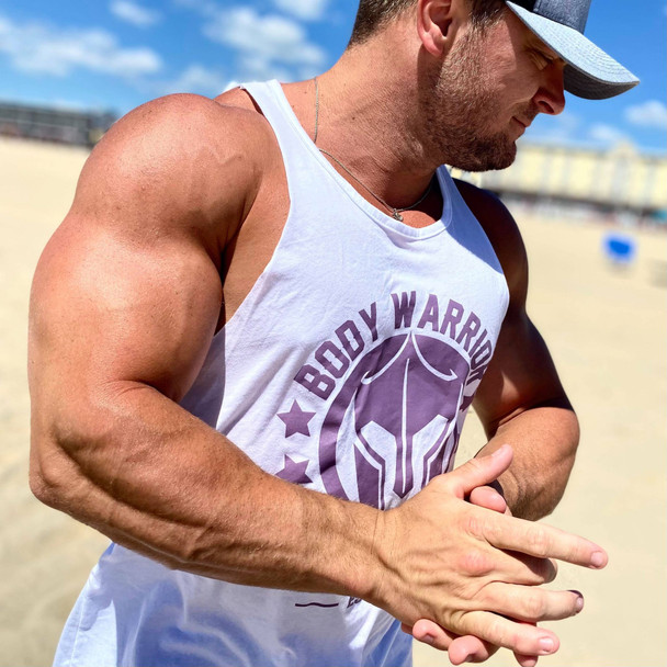 Body Warrior Tank: White w/ Purple