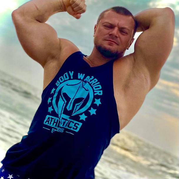 Body Warrior Tank: Navy w/ Turquoise