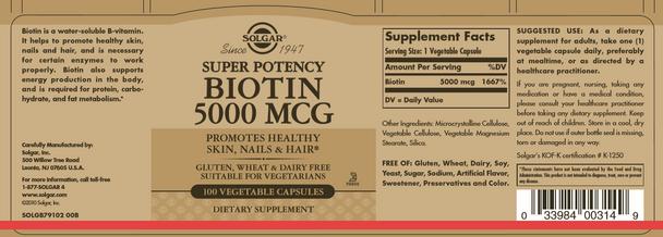 Biotin 5000 mcg, 100 tabs [see Breakthrough GLIMMER]