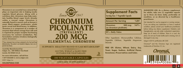 Chromium Picolinate 200 mcg, 180 caps [50% off with code 'CLEARANCE']