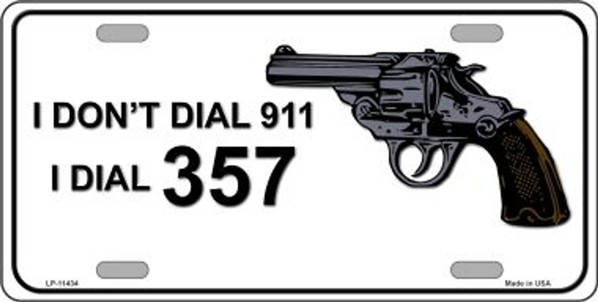 I Don/'t Call 911 2nd Amendment Gun Rights Owner Funny Black License Plate Frame