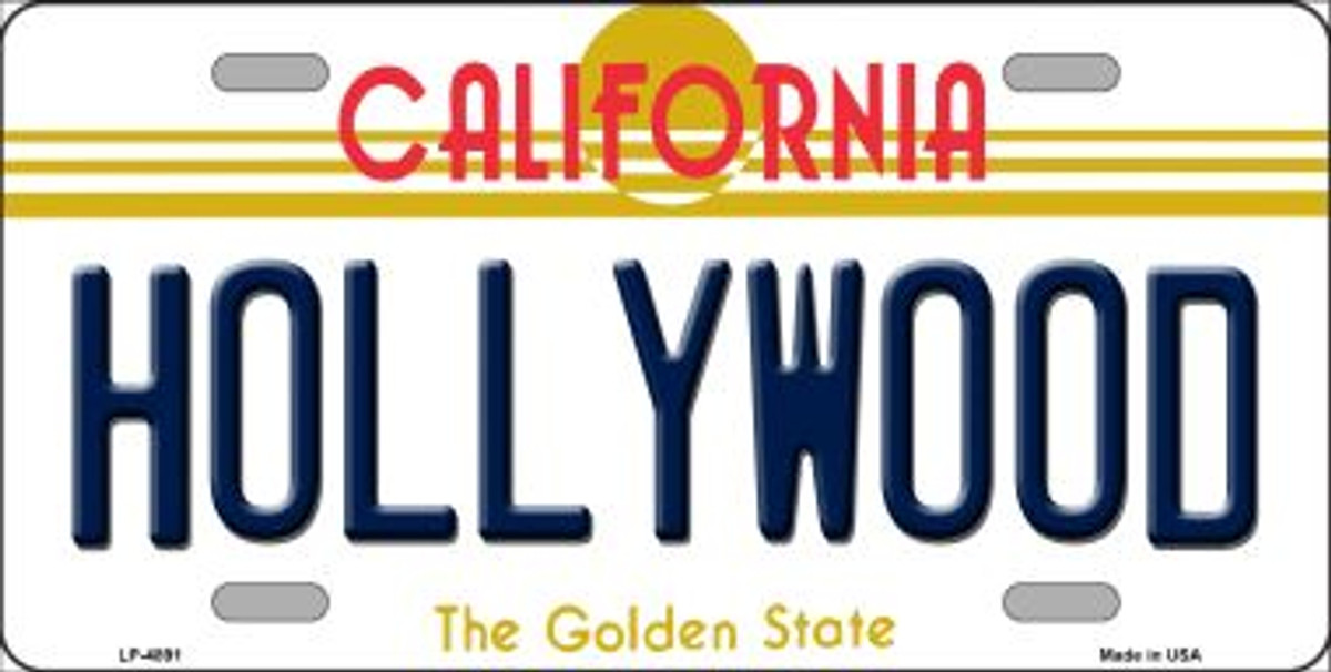 HOLLYWOOD CALIFORNIA STATE BACKGROUND METAL NOVELTY LICENSE PLATE TAG