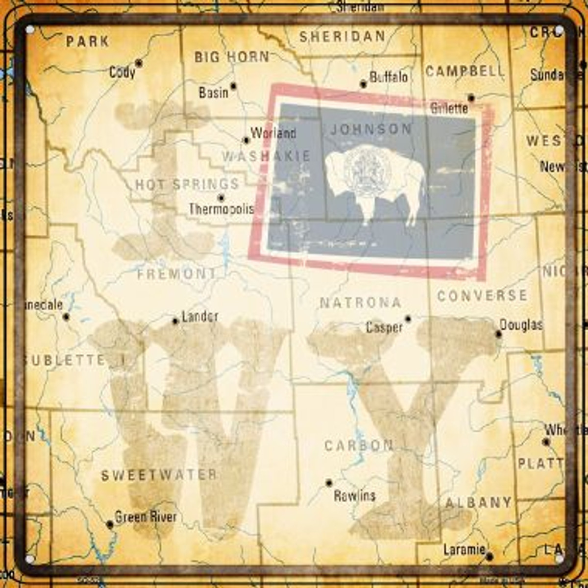 09eb82bacecc3 I Map WY Wholesale Novelty Square Sign SQ-520
