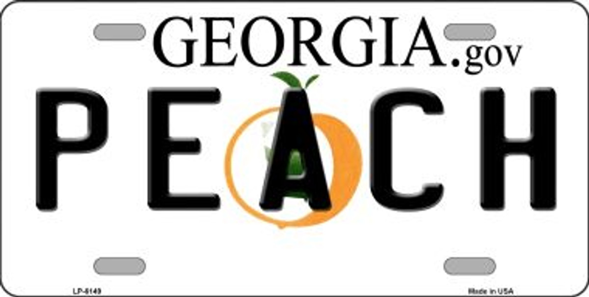 Peach Georgia Novelty Wholesale Metal License Plate LP-6149