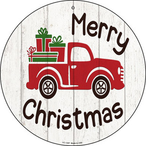 Merry Christmas Present Truck Wholesale Novelty Small Metal Circular Sign UC-1357