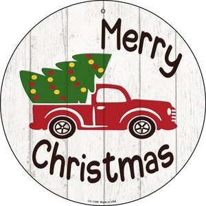 Merry Christmas Tree Truck Wholesale Novelty Small Metal Circular Sign UC-1358