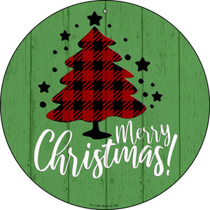 Merry Christmas With Tree Wholesale Novelty Small Metal Circular Sign UC-1360