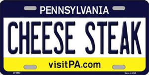 Cheese Steak Pennsylvania State Background Novelty Wholesale Metal License Plate