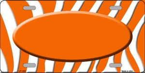 Orange White Zebra Pattern With Center Oval Wholesale Metal Novelty License Plate LP-1380