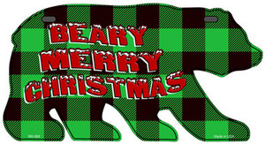 Beary Merry Christmas Green Wholesale Novelty Metal Bear Tag BR-068