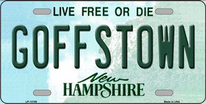 Goffstown New Hampshire Wholesale Novelty Metal License Plate Tag LP-13789