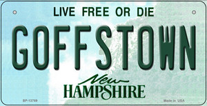 Goffstown New Hampshire Wholesale Novelty Metal Bicycle Plate BP-13789