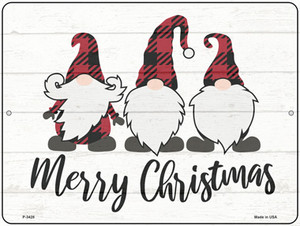 Merry Christmas Gnomes Wholesale Novelty Metal Parking Sign P-3428