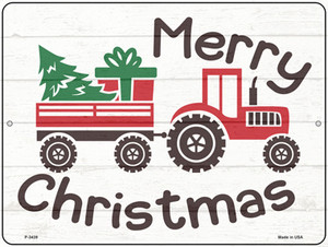 Merry Christmas Tractor  Wholesale Novelty Metal Parking Sign P-3439