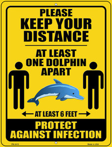 One Dolphin Apart Wholesale Novelty Mini Metal Parking Sign PM-3415