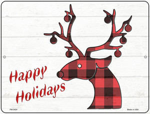 Happy Holidays Red Plaid Wholesale Novelty Mini Metal Parking Sign PM-3424