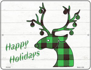 Happy Holidays Green Plaid Wholesale Novelty Mini Metal Parking Sign PM-3425