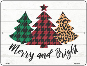 Merry And Bright Christmas Tree Wholesale Novelty Mini Metal Parking Sign PM-3427