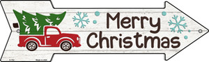 Merry Christmas Truck Hauling Tree Wholesale Novelty Metal Arrow Sign A-752