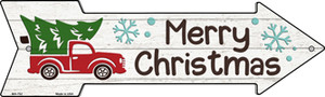 Merry Christmas Truck Hauling Tree Wholesale Novelty Mini Metal Arrow Sign MA-752