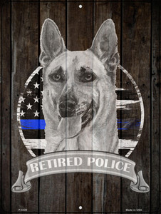 Retired Police K9 Wholesale Novelty Metal Parking Sign P-3328