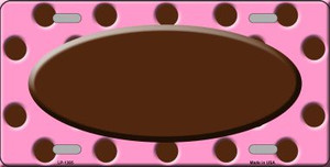 Brown Pink Polka Dot Print With Brown Center Oval Wholesale Metal Novelty License Plate