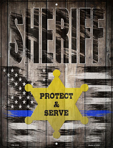 Sheriff Protect and Serve Wholesale Novelty Mini Metal Parking Sign PM-3320