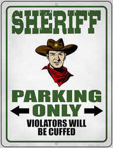 Sheriff Parking Only Wholesale Novelty Mini Metal Parking Sign PM-3335
