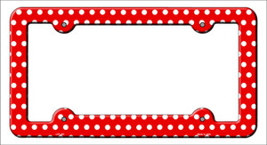 Red White Polka Dots Wholesale Novelty Metal License Plate Frame