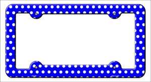 Blue White Polka Dots Wholesale Novelty Metal License Plate Frame