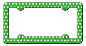 Green White Polka Dots Wholesale Novelty Metal License Plate Frame