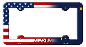 Alaska|American Flag Wholesale Novelty Metal License Plate Frame