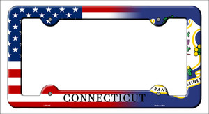 Connecticut American Flag Wholesale Novelty Metal License Plate Frame