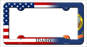 Idaho|American Flag Wholesale Novelty Metal License Plate Frame
