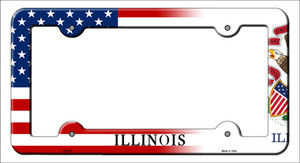 Illinois|American Flag Wholesale Novelty Metal License Plate Frame
