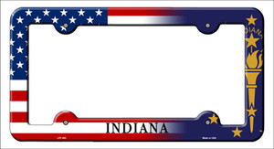 Indiana|American Flag Wholesale Novelty Metal License Plate Frame