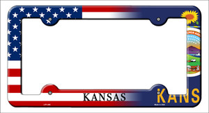 Kansas|American Flag Wholesale Novelty Metal License Plate Frame