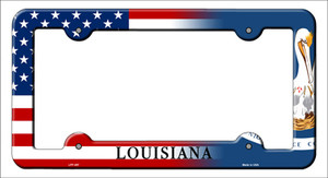 Louisiana|American Flag Wholesale Novelty Metal License Plate Frame