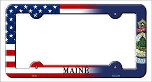 Maine|American Flag Wholesale Novelty Metal License Plate Frame