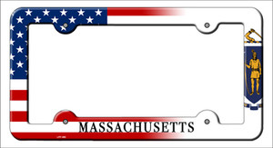 Massachusetts|American Flag Wholesale Novelty Metal License Plate Frame