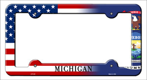 Michigan|American Flag Wholesale Novelty Metal License Plate Frame