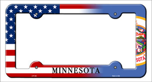 Minnesota|American Flag Wholesale Novelty Metal License Plate Frame