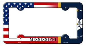 Mississippi|American Flag Wholesale Novelty Metal License Plate Frame